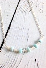 Handmade Sterling Silver Necklace with 5 Larimar, Tiny White Pearl Curved Bar