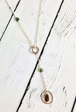 "Handmade Sterling Silver Necklace with ""Y"" Drop with Opal in 14k Goldfill Ring, 14k Goldfill and Shiny Silver Chains"