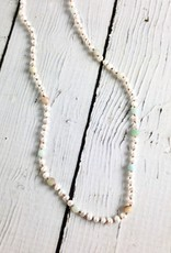 Handmade Sterling Silver Necklace with White Pearl, Matte Amazonite Knotted on  Natural Silk