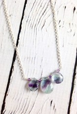 Handmade Sterling Silver Necklace with 3 Fluorite Briolettes, Amethyst Rondelles, Tiny Shiny Faceted Silver Curved Across, Shiny Silver