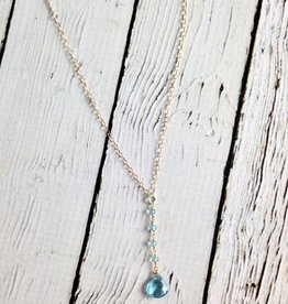 Handmade Sterling Silver Necklace with Y Drop Featuring Swiss Blue Topaz Briolette, 4 Tiny Rondelles, 14kt Goldfilled Chain, Shiny Silver Chain