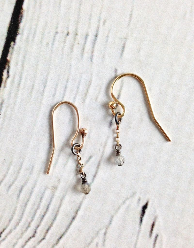 Handmade Sterling Silver Earrings with Tiny Labradorite, Tiny 14kt Gold Chain