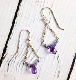Handmade Sterling Silver Earrings with Amethyst Briolette, 5 Tiny Iolite, Each Side Curved, Shiny Chain Sides