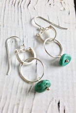 Handmade Sterling Silver Earrings with Shiny Silver Curved Bar U, Shiny Ring, Turquoise Nugget