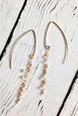 Handmade Sterling Silver Earrings with Silver Chandelier, Reticulated Silver Teardrop