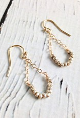 Handmade Sterling Silver Earrings with 1/2 Hoop, Shiny Faceted Silver, 14kt Goldfill