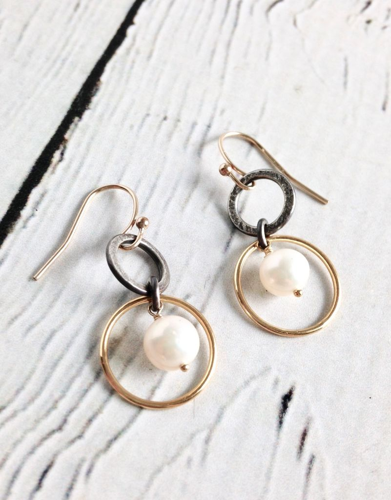 Handmade Sterling Silver Earrings with White Pearl, Flat Oxidized Ring, 14kt Goldfill Ring
