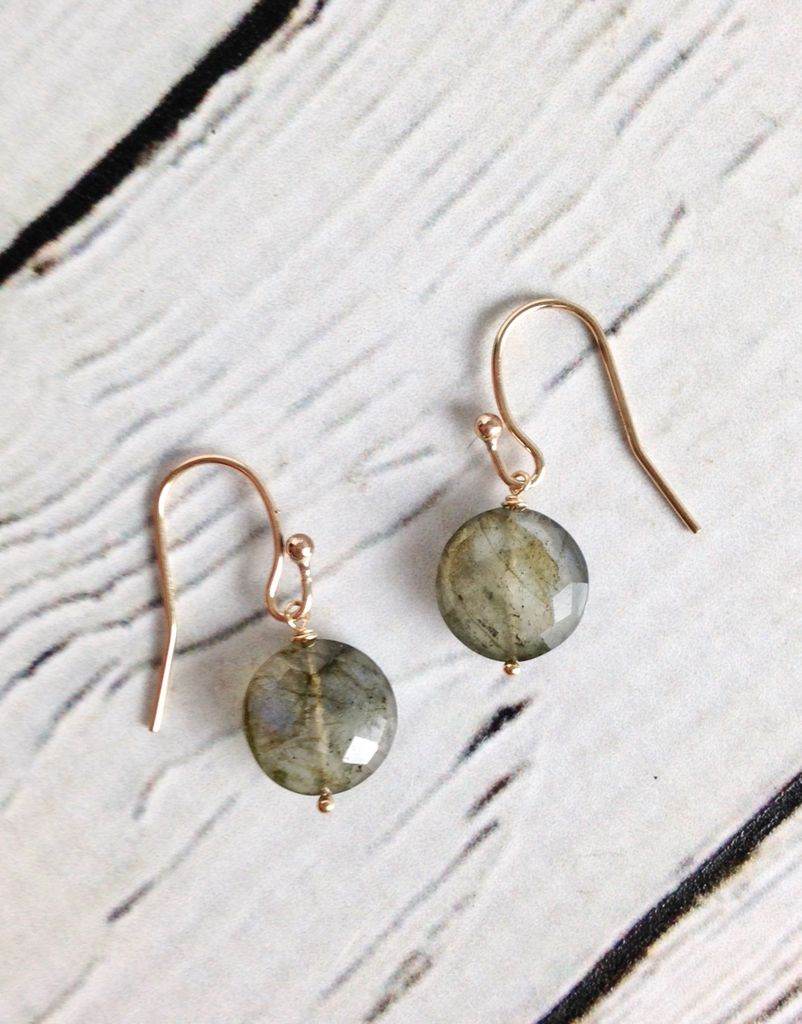 Handmade Sterling Silver Earrings with Labradorite Coin, 14kt Goldfill
