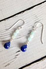 Handmade Sterling Silver Earrings with 3 Stack Matte Amazonite, Lapis Briolette