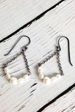 Handmade Sterling Silver Earrings with 5 White Pearl Curved, Oxidized Side Chains