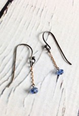 Handmade Sterling Silver Earrings with Blue Sapphire, Tiny 14kt Gold Chain