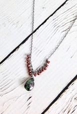 Handmade Silver Necklace with Tiny Garnet, Ruby Zoisite Brio, Oxidized Chain
