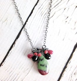 Handmade Sterling Silver Necklace with Ruby Zoisite, 2 Onyx, 2 Ruby Brios, Ruby, Hematite Across