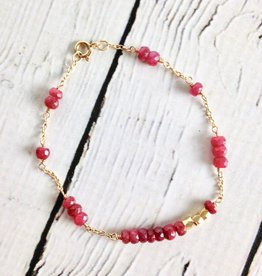 Twigs and Twine Ruby and Gold Filled Bracelet