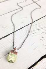 "Raw Peridot Electroformed Copper pendant on 18"" Oxidized Silver Necklace - August Birthstone"
