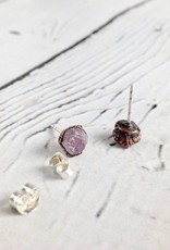 Raw Ruby Electroformed Stud Earrings, Copper with Sterling Posts - July Birthstone