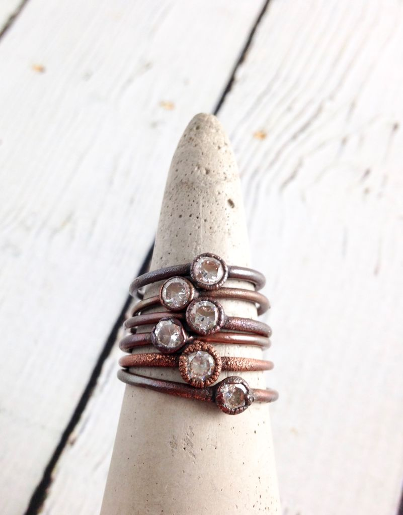 Ruby, Herkimer Diamond, Labradorite, or Cubic Zirconia Tiny Raw Stone & Copper Electroplated Ring by Hawkhouse Designs