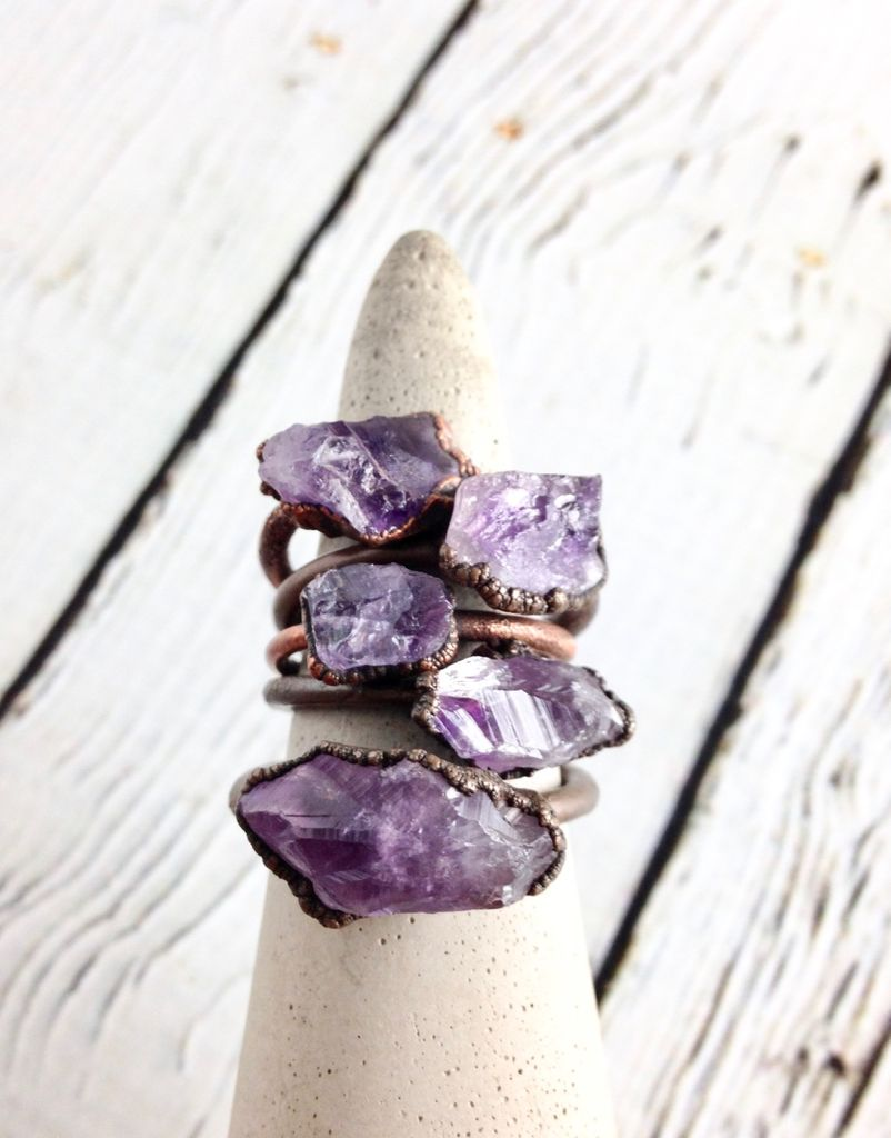 Amethyst, Peridot, or Citrine Raw Stone and Copper Electroplated Ring by Hawkhouse Designs