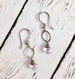 Handmade Oxidized Silver Earrings with Pink Amethyst Drop