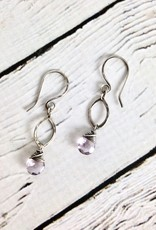 Handmade Oxidized Silver Earrings with Pink Amethyst Drop
