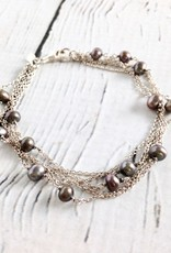 Sterling Silver Multi-Strand Bracelet with Grey Pearls