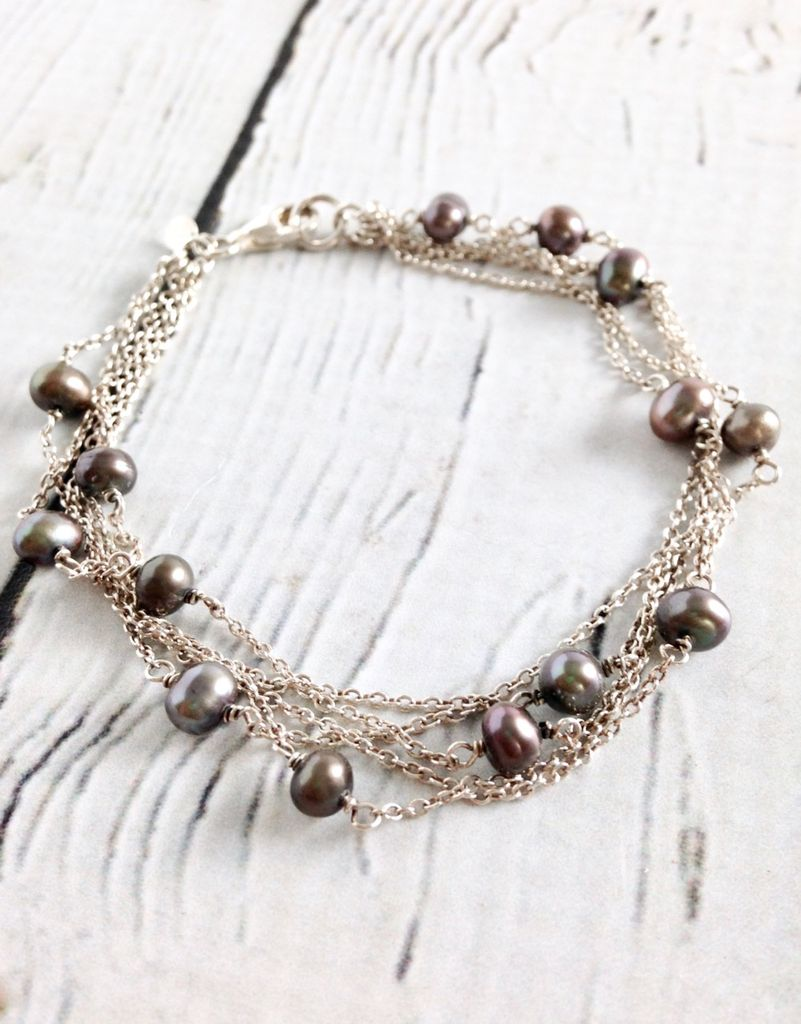 Sterling Silver Multi Strand Bracelet With Grey Pearls