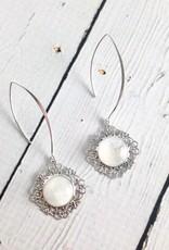 Sterling Silver Long Hook Earrings with Moonstone