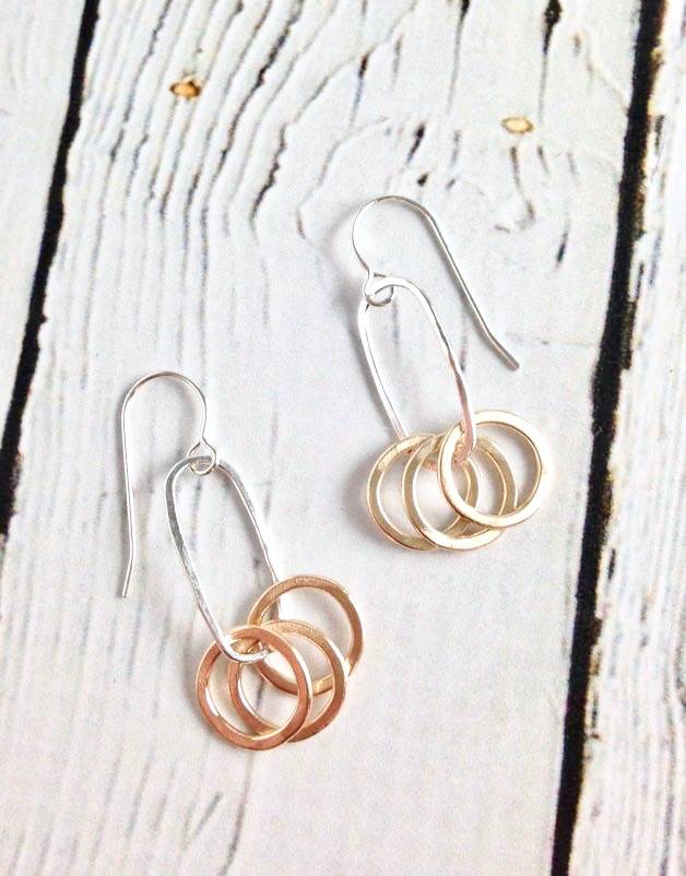Handmade Three 14k Gold Filled Circles on Sterling Oval Earring