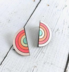 Handmade Sterling Silver Painted Birch Sunrise Studs