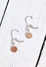 Handmade Hammered 14kt GF Disc with Oxidized Sterling Bead Earrings