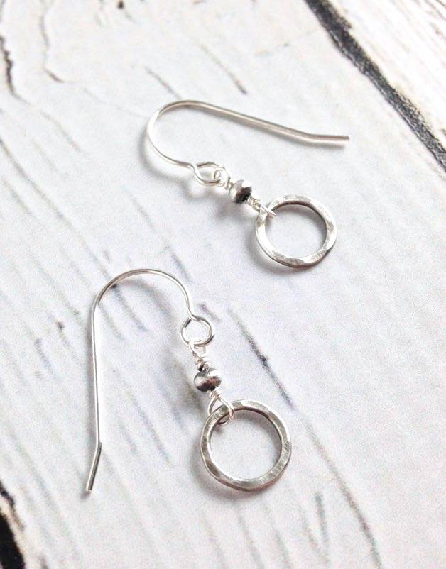 Handmade Hammered Sterling Circle and Bead Earring