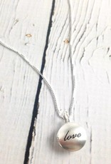 "Sterling Silver Necklace with Brushed Silver ""love"" Locket"