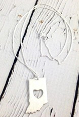 Handstamped Brushed Heart Cutout Indiana Necklace