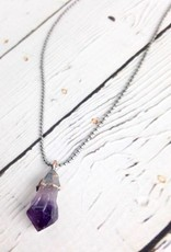 Raw Amethyst Sterling Chain Necklace