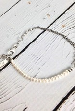 Handmade Oxidized Sterling and White Freshwater Pearl Bracelet