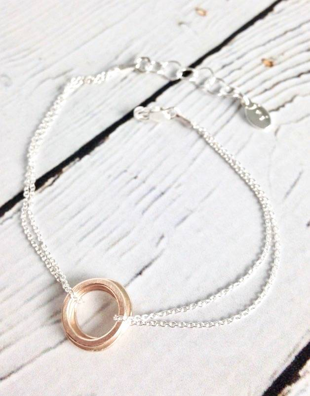 Handmade Three 14k Gold Filled Circles with Double Chain Bracelet