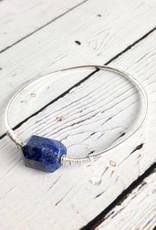 Sterling Silver Loki Bangle Bracelet with Lapis