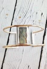 Handmade Faceted Rectangle Labradorite Bezel Set on Open 14k Gold Fill Wire Cuff Bracelet