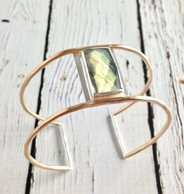 Handmade Faceted Rectangle Labradorite Bezel Set on Open 14k Gold Fill Wire Cuff Bracelet