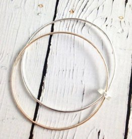 Handmade Hammered 14k Gold Fill and Sterling Silver Bangle set with Cubic Zirconia connector