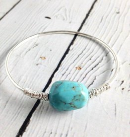 Sterling Silver Loki Bangle Bracelet with Turquoise
