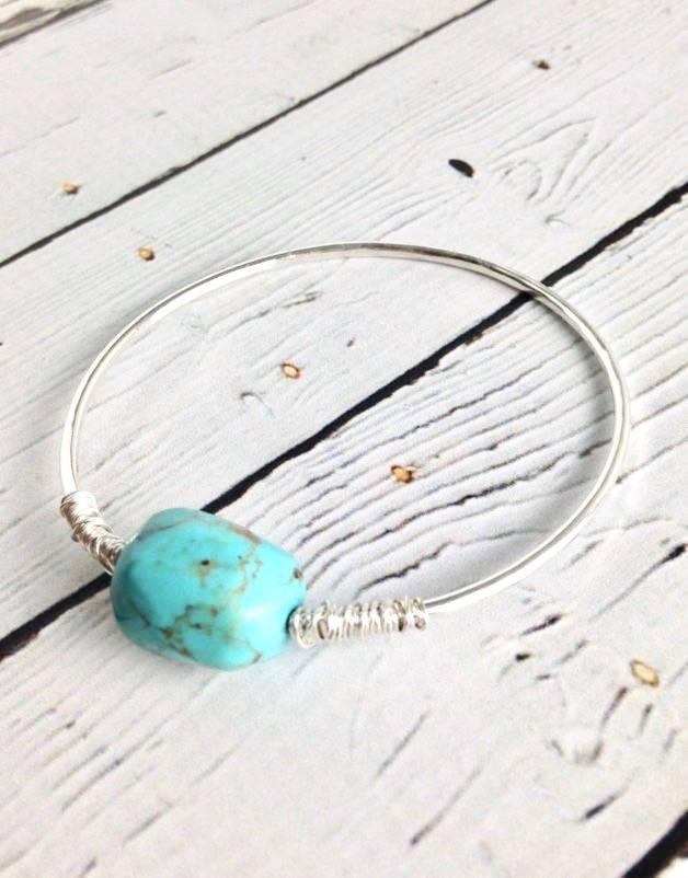 Sterling Silver Loki Bangle Bracelet with Turquoise