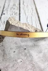 LaurelDenise Adjustable Leather Bracelet, be strong, gold