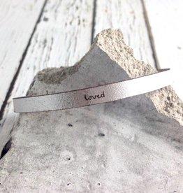 LaurelDenise Adjustable Leather Bracelet, loved, silver