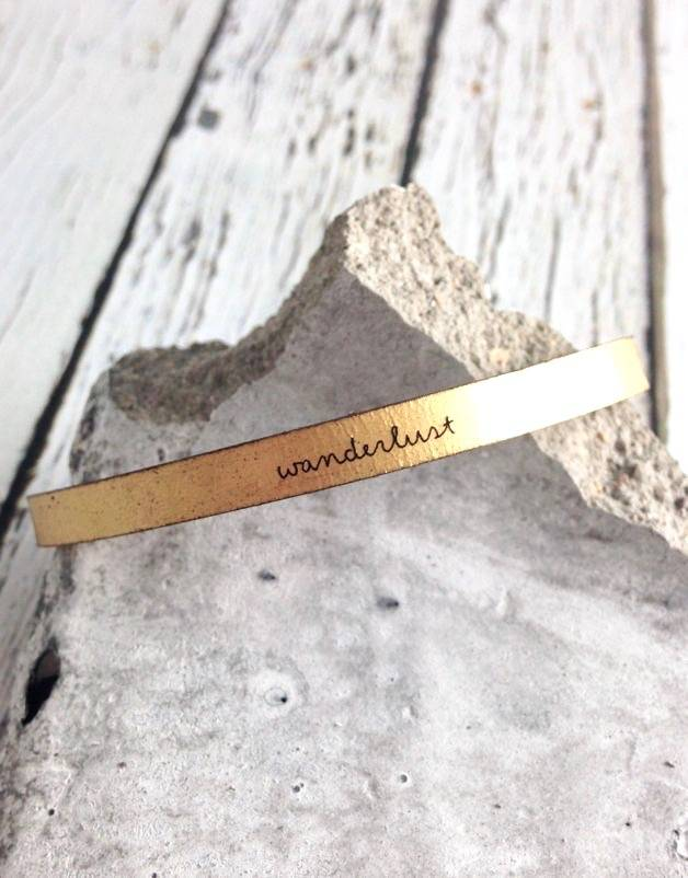 LaurelDenise Adjustable Leather Bracelet, wanderlust, gold