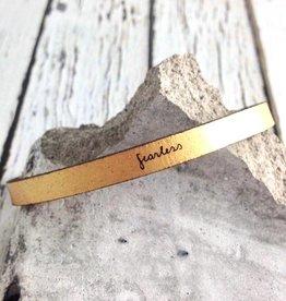 LaurelDenise Adjustable Leather Bracelet, fearless, gold