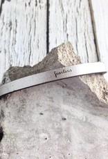 LaurelDenise Adjustable Leather Bracelet, fearless, silver
