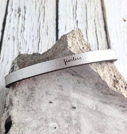 LaurelDenise Adjustable Leather Bracelet, fearless, silver