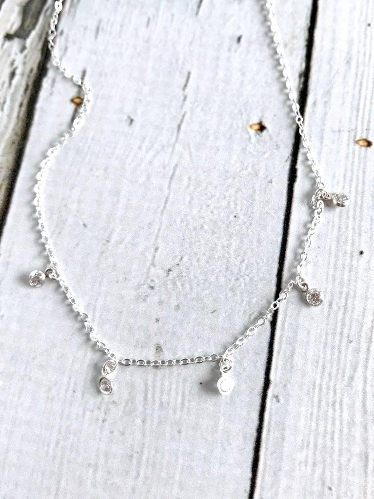 Handmade Starry String Light 5 Dangling Crystal Choker