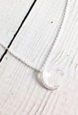 Silver Crescent Moon Cubic Zirconia Pave Necklace